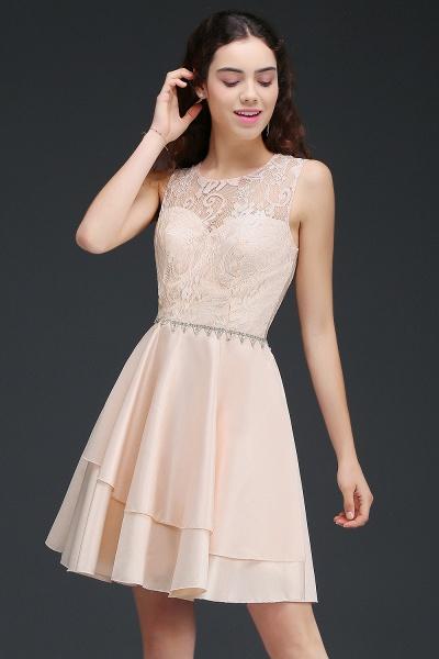 BM0822 Simple Short Pink Lace Beads Open Back Bridesmaid Dresses_3