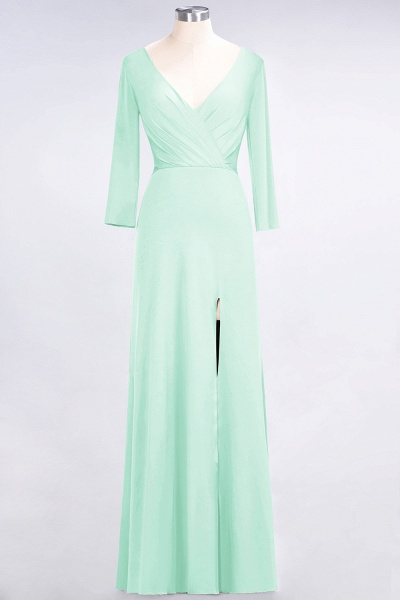 A-Line Spandex V-Neck Long-Sleeves Side-Slit Floor-Length Bridesmaid Dress with Ruffles_30