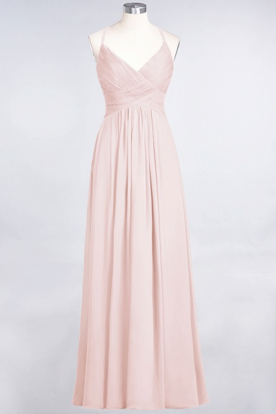 A-Line Chiffon Spaghetti-Straps V-Neck Sleeveless Floor-Length Bridesmaid Dress with Ruffles_5