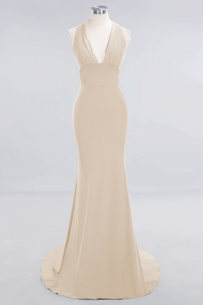 BM0670 Elegant Mermaid Halter Pool V-neck Bridesmaid Dress_13