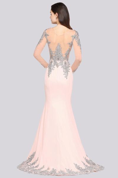 BM0129 Pink Mermaid Long Sleeves Appliques Beads Bridesmaid Dresses_2