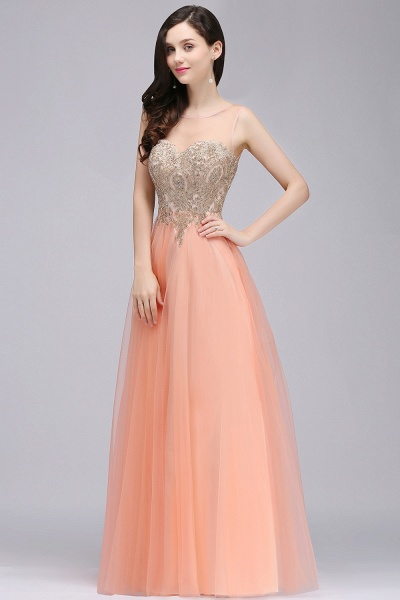BM0125 A-line Open Back Sleeveless Appliques Tulle Bridesmaid Dresses_3