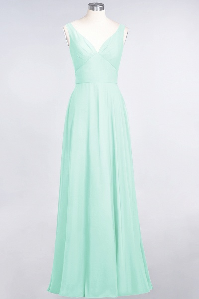 A-Line Chiffon V-Neck Straps Sleeveless Ruffles Floor-Length Bridesmaid Dress with Open Back_34
