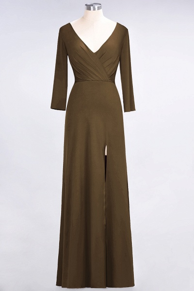 A-Line Spandex V-Neck Long-Sleeves Side-Slit Floor-Length Bridesmaid Dress with Ruffles_11