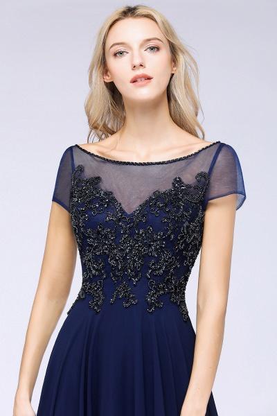 BM0763 Elegant A-Line Short Sleeves Appliques Beads Bridesmaid Dress_5