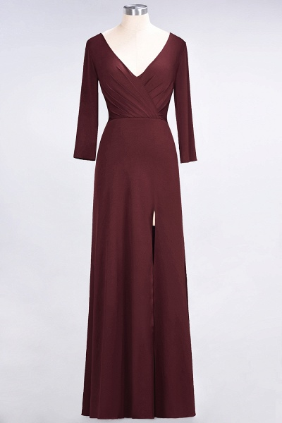 A-Line Spandex V-Neck Long-Sleeves Side-Slit Floor-Length Bridesmaid Dress with Ruffles_9
