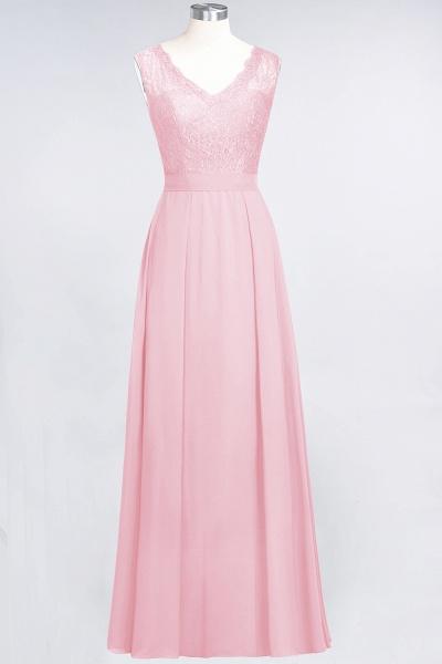 A-Line Chiffon Lace V-Neck Sleeveless Floor-Length Bridesmaid Dress_4