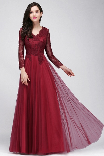 BMbridal Long Sleeves V-Neck Lace Burgundy Bridesmaid Dresses with Appliques
