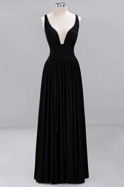 BM0141 A-Line V-Neck Sleeveless Long Ruffles Bridesmaid Dress_25