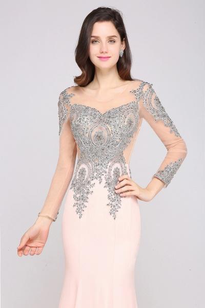 BM0129 Pink Mermaid Long Sleeves Appliques Beads Bridesmaid Dresses_5
