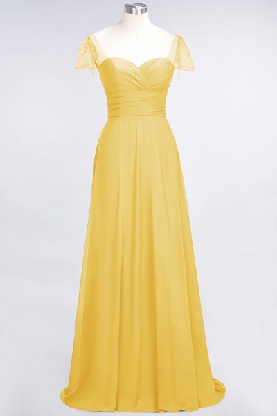 A-Line Chiffon Sweetheart Cap-Sleeves Ruffle Floor-Length Bridesmaid Dress with Beadings_16