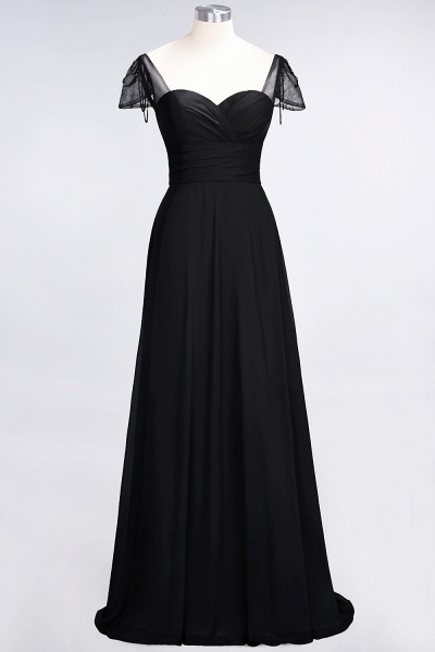 A-Line Chiffon Sweetheart Cap-Sleeves Ruffle Floor-Length Bridesmaid Dress with Beadings_28