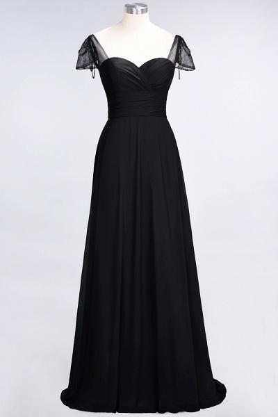 A-Line Chiffon Sweetheart Cap-Sleeves Ruffle Floor-Length Bridesmaid Dress with Beadings_28