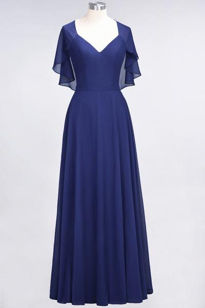 A-Line Chiffon Satin V-Neck short-sleeves Floor-Length Bridesmaid Dress_25