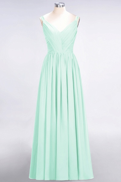A-Line Chiffon Straps V-Neck Sleeveless Backless Floor-Length Bridesmaid Dress with Ruffles_34