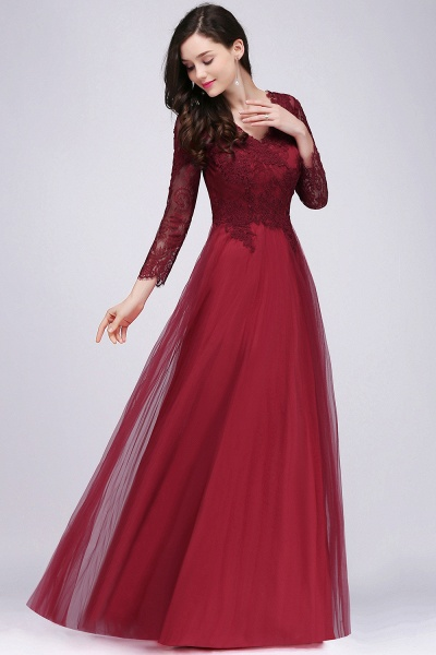 BMbridal Long Sleeves V-Neck Lace Burgundy Bridesmaid Dresses with Appliques_4