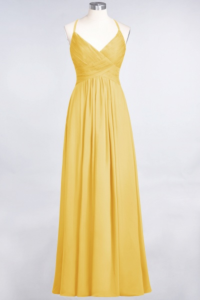 A-Line Chiffon Spaghetti-Straps V-Neck Sleeveless Floor-Length Bridesmaid Dress with Ruffles_16