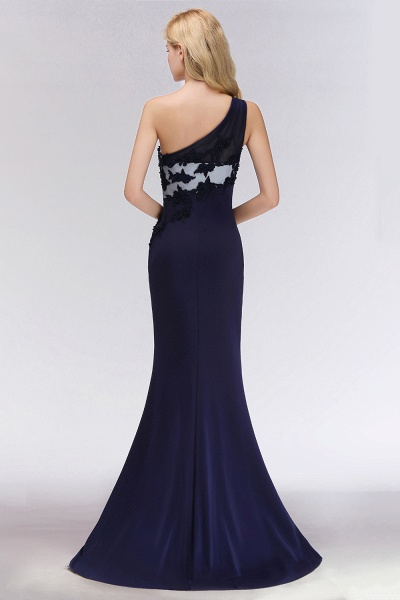 BM0085 Simple Side Split One-Shoulder Sleeveless Mermaid Bridesmaid Dress_2