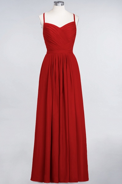 A-Line Chiffon Spaghetti-Straps Sweetheart Sleeveless Floor-Length Bridesmaid Dress with Ruffles_8