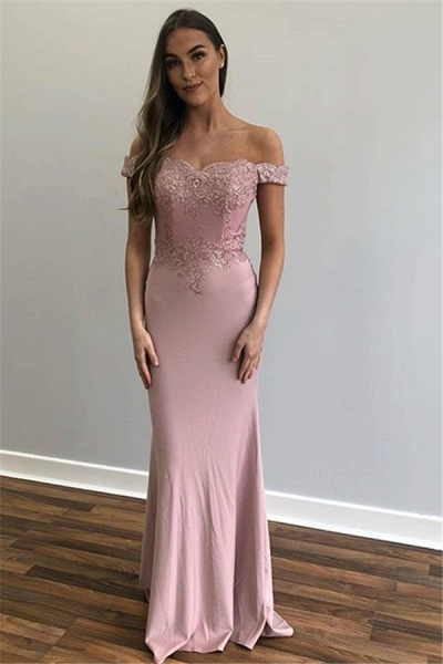 Beautiful Off-the-shoulder Appliques Mermaid Prom Dress_1