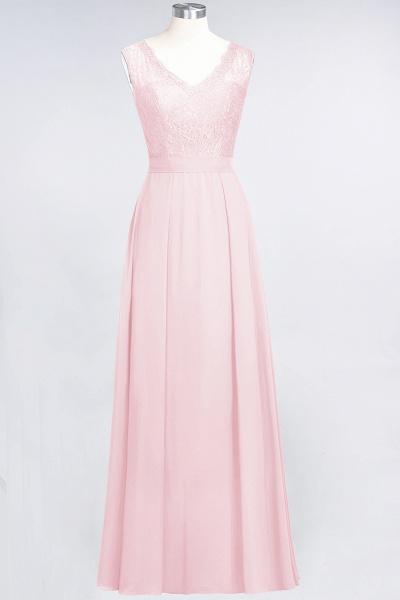 A-Line Chiffon Lace V-Neck Sleeveless Floor-Length Bridesmaid Dress_3