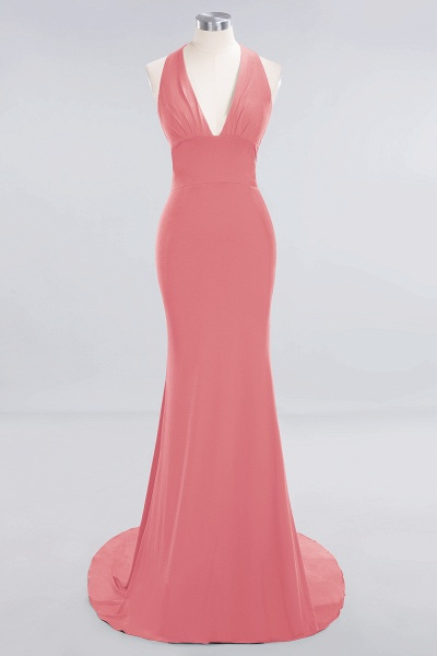 BM0670 Elegant Mermaid Halter Pool V-neck Bridesmaid Dress_6