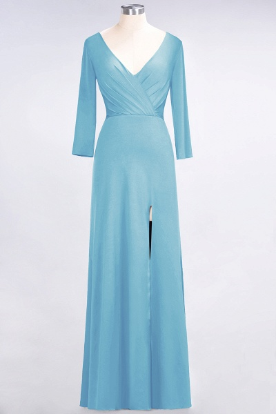 A-Line Spandex V-Neck Long-Sleeves Side-Slit Floor-Length Bridesmaid Dress with Ruffles_21