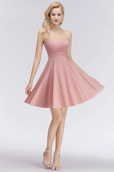 BM0060 Simple Pink Sweetheart Short Bridesmaid Dress_4