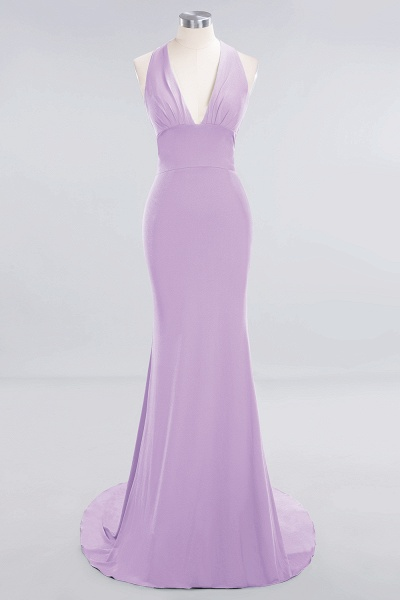 BM0670 Elegant Mermaid Halter Pool V-neck Bridesmaid Dress_18