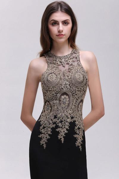 BM0121 Straps Black Mermaid Appliques Sleeveless Bridesmaid Dresses_4