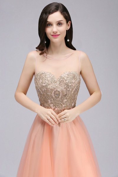 BM0125 A-line Open Back Sleeveless Appliques Tulle Bridesmaid Dresses_5