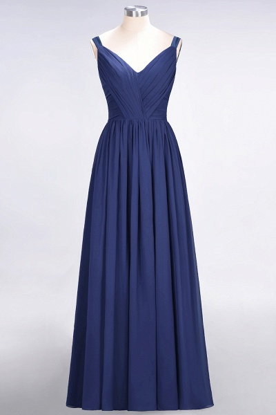 A-Line Chiffon Straps V-Neck Sleeveless Backless Floor-Length Bridesmaid Dress with Ruffles_25