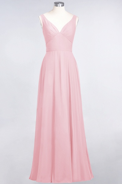 A-Line Chiffon V-Neck Straps Sleeveless Ruffles Floor-Length Bridesmaid Dress with Open Back_4