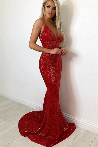 Glorious Spaghetti Straps Sequined Mermaid Evening Dress_1