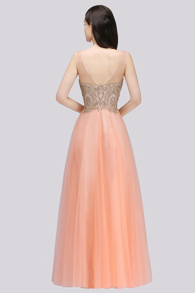 BM0125 A-line Open Back Sleeveless Appliques Tulle Bridesmaid Dresses_2