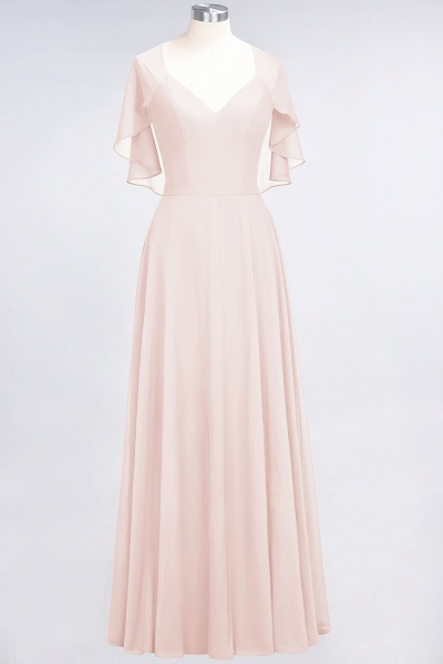 A-Line Chiffon Satin V-Neck short-sleeves Floor-Length Bridesmaid Dress_5