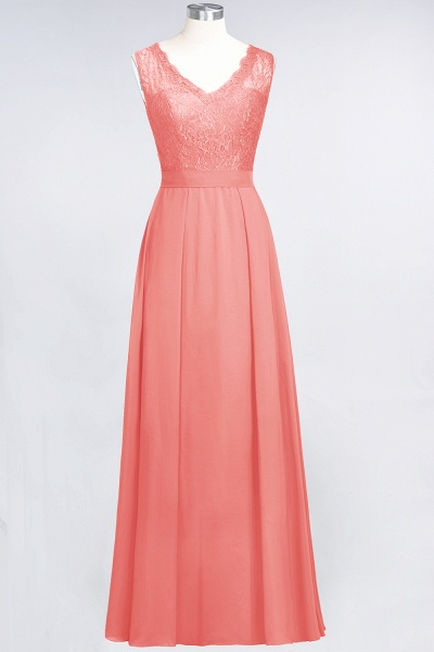 A-Line Chiffon Lace V-Neck Sleeveless Floor-Length Bridesmaid Dress_7