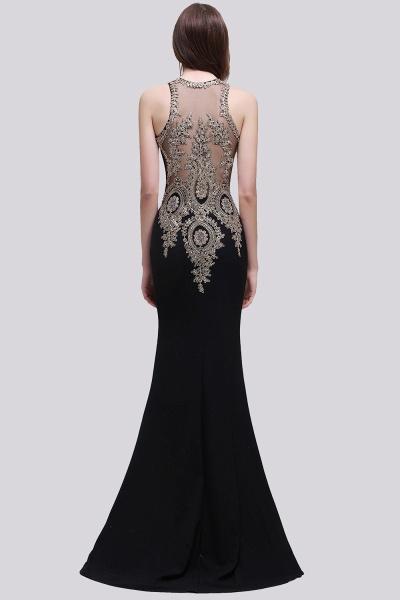 BM0121 Straps Black Mermaid Appliques Sleeveless Bridesmaid Dresses_2