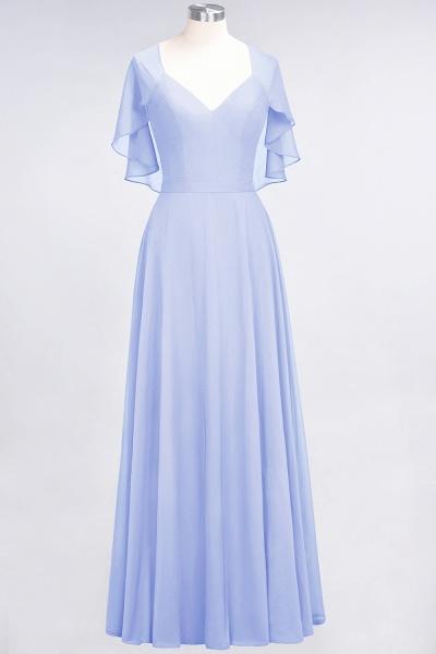 A-Line Chiffon Satin V-Neck short-sleeves Floor-Length Bridesmaid Dress_21
