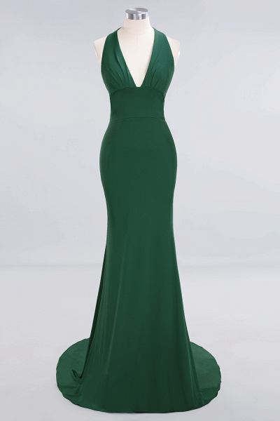 BM0670 Elegant Mermaid Halter Pool V-neck Bridesmaid Dress_27