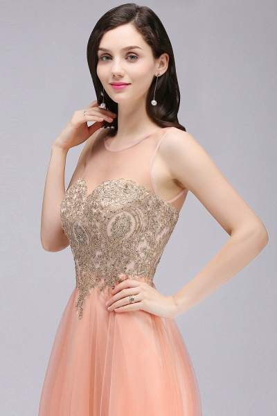 BM0125 A-line Open Back Sleeveless Appliques Tulle Bridesmaid Dresses_6
