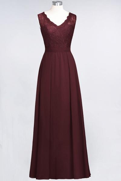 A-Line Chiffon Lace V-Neck Sleeveless Floor-Length Bridesmaid Dress_10