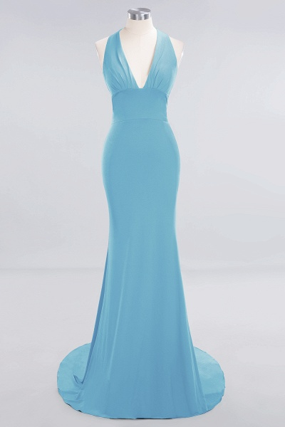 BM0670 Elegant Mermaid Halter Pool V-neck Bridesmaid Dress_21