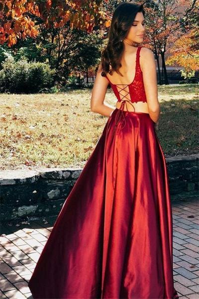 Graceful Straps Appliques Two Pieces Prom Dress_2