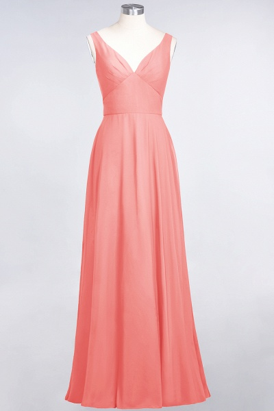 A-Line Chiffon V-Neck Straps Sleeveless Ruffles Floor-Length Bridesmaid Dress with Open Back_7
