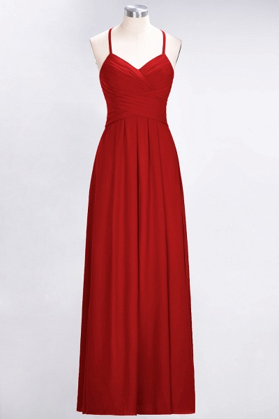 A-Line Chiffon Halter V-Neck Sleeveless Floor-Length Bridesmaid Dress with Ruffles_8