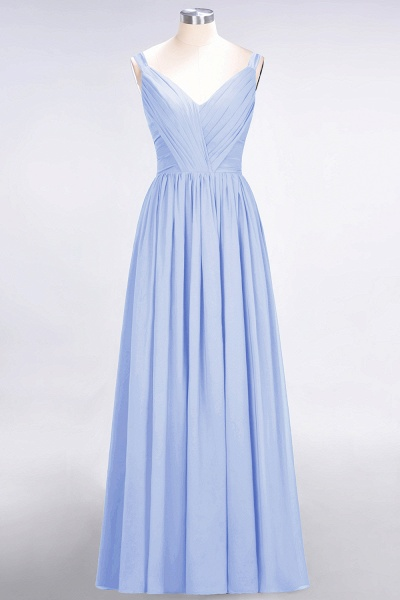 A-Line Chiffon Straps V-Neck Sleeveless Backless Floor-Length Bridesmaid Dress with Ruffles_21