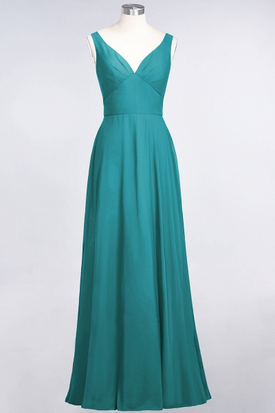 A-Line Chiffon V-Neck Straps Sleeveless Ruffles Floor-Length Bridesmaid Dress with Open Back_31