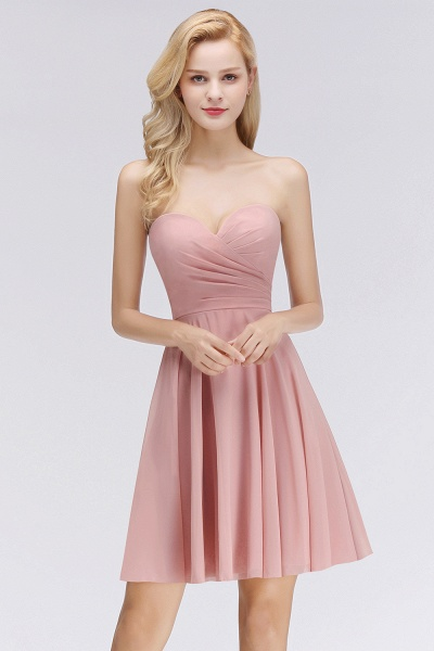 BM0060 Simple Pink Sweetheart Short Bridesmaid Dress