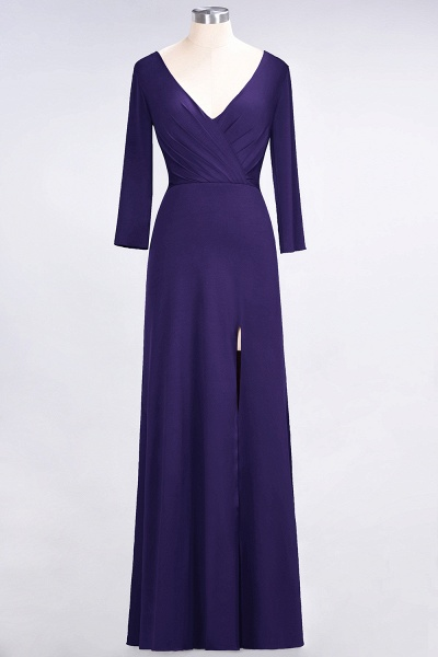 A-Line Spandex V-Neck Long-Sleeves Side-Slit Floor-Length Bridesmaid Dress with Ruffles_17